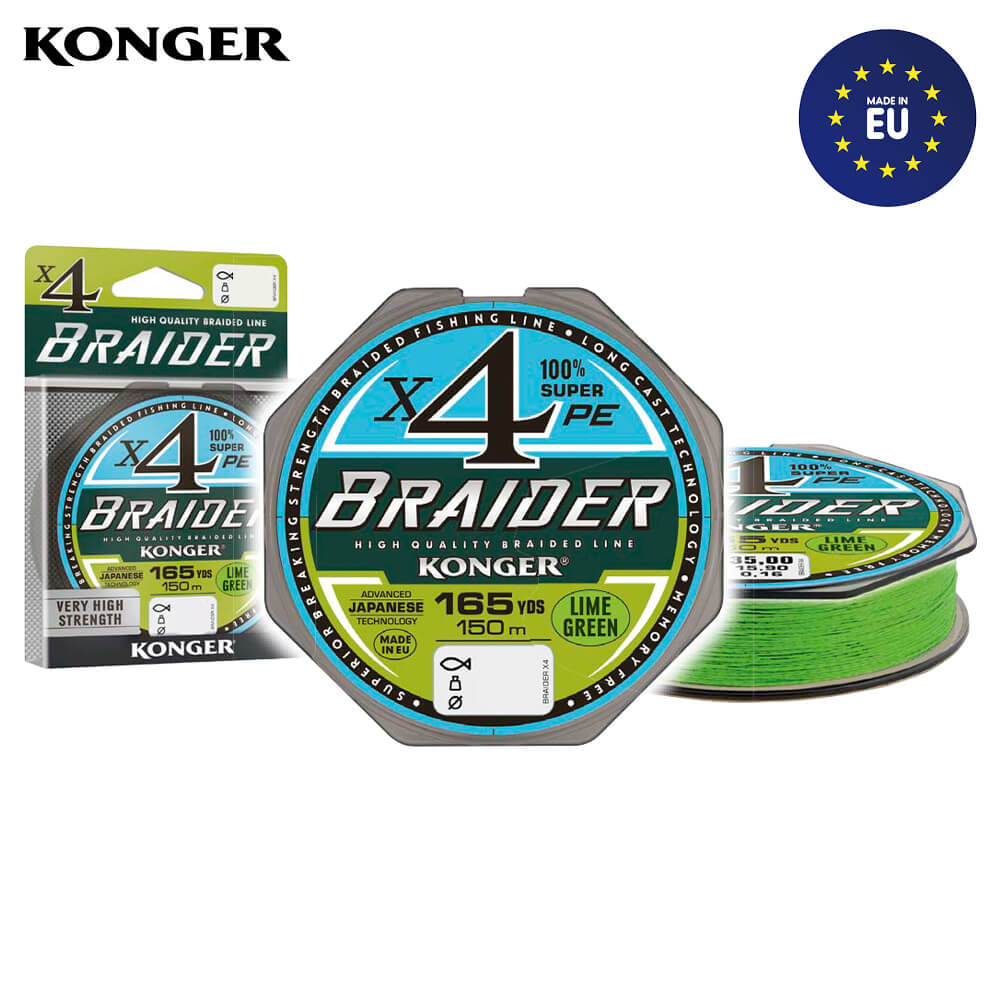 Konger Fir Textil Braider X4 Lime Green 150m / 0.25mm / 29.2kg - cod 250145025